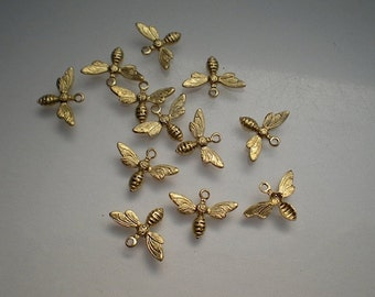 12 tiny brass bee charms - NEW SIZE