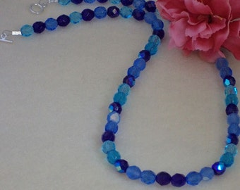 Czech Glass Beaded Necklace Of Blues & Aquas   FREE SHIPPING