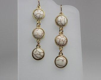 White Magnesite Drop Earrings