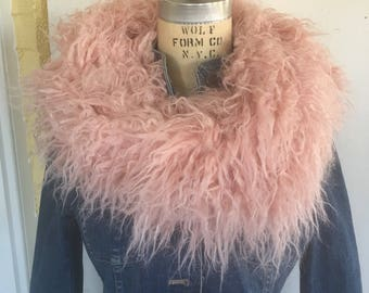 Faux Fur Scarf, Cowl, Snood, Pink Scarf, Winter Scarf, Circle Scarf, Infinity Scarf