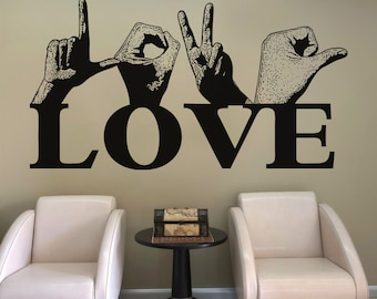 Vinyl Wall Decal Sticker Love Sign Language 5441m