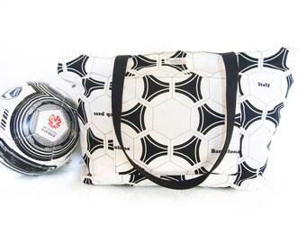 SALE - 40% OFF - Zipper-Top Gym Bag / Sports Bag / Large Tote Bag (Soccer Balls)