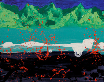 """Lava Eruption II 16""""x20"""" original acrylic painting on stretched canvas"""