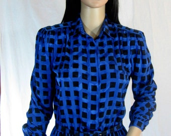 80's SLOUCH SHIRT DRESS Size S M Royal Blue