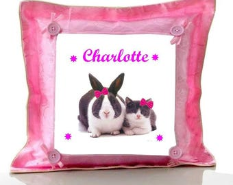 Cushion Pink Bunny and cat personalized with name