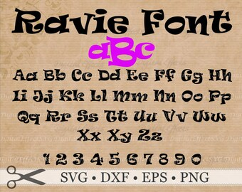 RAVIE FONT Monogram SVG, Dxf, Eps, Png Files, Upper & Lowercase Letters + Numbers,Silhouette Files, Cricut, Cutting Files, Ravie  Letters