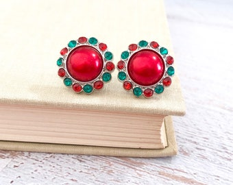 Big Red Pearl and Rhinestone Christmas Statement Stud Earrings with Surgical Steel Posts
