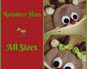 Crocheted Reindeer Hat, Rudolf Hat, Baby Christmas Hat, Children Christmas Hat, Adult Christmas Hat, Christmas Gift, Stocking Stuffer