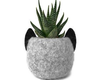Animal Planter. Felt Planter. Gray Cat. Plant Pot. Kitten Planter. Cactus Pot. Marble Gray. Animal Plant Pot. Best Friend Gift.