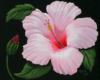 """Light Pink Hibiscus with Bud 16""""x20"""" Original Acrylic Painting"""