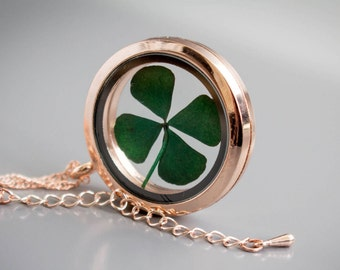 Real Clover Necklace, clover, rose gold, Locket, luck, shamrock, Jewelry, gift for Woman, clover Pendant, real clover, present, mother, gift