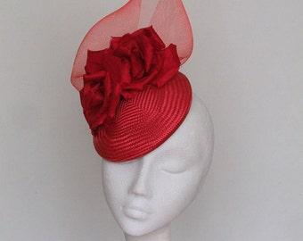Red Fascinator Kentucky Derby Hat