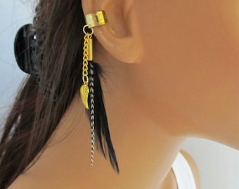Gold Angel Wing Ear Cuff Black and Grizzly Feathers Non Pierced