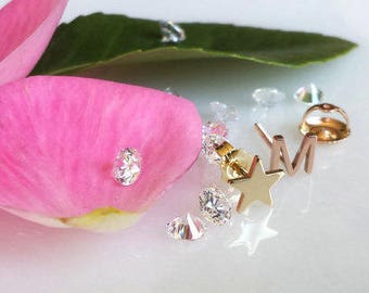 Pair Solid 14kt yellow gold initial earring studs, screwback posts for extra comfort and security Mix and Match letter stud lucky star stud