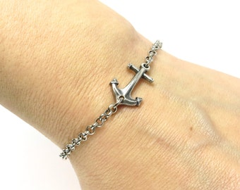 NEW Steampunk Small Anchor Bracelet Sterling Silver Ox Finish Anchor Bracelet