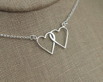 Connected hearts necklace in sterling silver, interlocking hearts, entwined hearts necklace, two hearts, linked hearts, mother's day