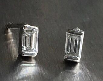 Baguette Diamond Stud Earrings .21tcw