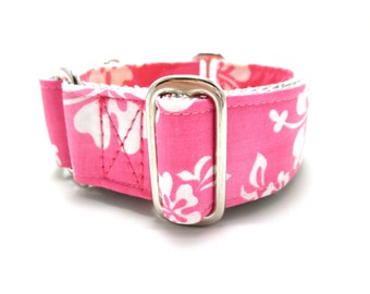 """Houndstown 1.5"""" Pink Hibiscus Unlined Buckle or Martingale Collar, Any Size"""
