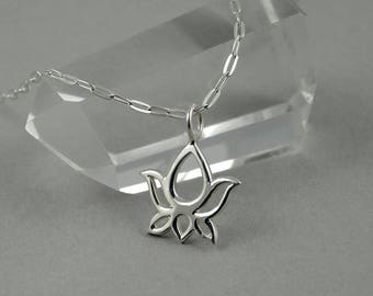 Lotus Necklace - Sterling Silver Tiny Charm Necklace, Lotus Flower Charm, Girls Jewelry, Girls Necklace, Tiny Charms, Charm Bracelet Charms