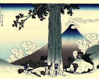 "Japanese Ukiyo-e Woodblock print, Hokusai, ""Mishima Pass in Kai Province"""