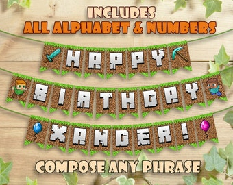 Mine Themed Birthday Banner Party Printable Personalized Customizable Includes all Letters Printables Decoration Instant Digital Download