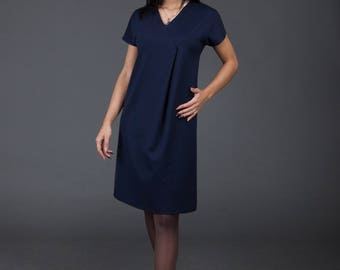 Blue Dress/ Minimalistic/ Midi Dress with sleeves/ high-quality/ handmade/ Sphinx Design.lt