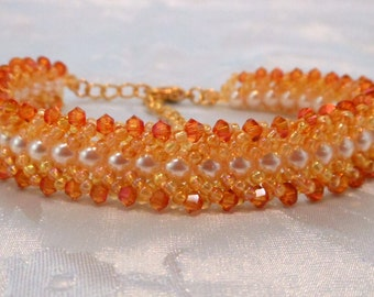 """Crystal and Pearl """"Shelby"""" Flat Spiral Bracelet (002-107)"""