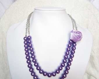Violet  Silk Ribbon Fabric Rosette Flower Necklace,Chain Necklace,violet  Pearl Necklace,Party Bridesmaid Necklace,Charming Wedding Necklace