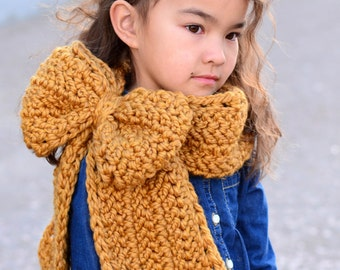 CROCHET PATTERN - Gift Wrapped Cowl - chunky crochet cowl pattern bulky yarn big bow cowl (Toddler Child Adult sizes) - Instant PDF Download