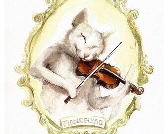 "Cat Art- cat painting, print, cat playing Fiddle ""Fiddlhead"""