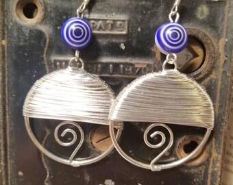 Blue Swirl Wirewrap Earrings