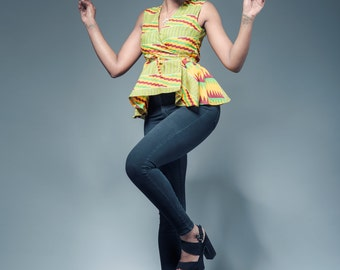 Yellow gold Kente peplum wrap Ankara top