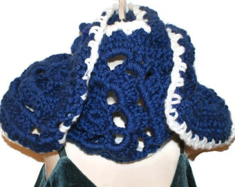 Blue Crochet Scarf, Blue Neckwarmer, Blue Scarf, Winter Fashion Scarf, Womens Blue Scarf, Fall Fashion Scarf, Crochet Neck Wrap, Navy