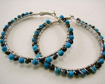 Howlite Turquoise and Blue Labradorite gemstone wire wrapped hoops
