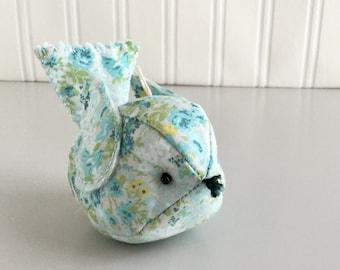 Blue Floral Bird Ornament Handmade Country Floral Fabric Bird