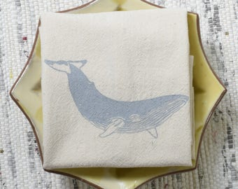 Whale Cloth Napkins - Set of 4 - Organic Cotton - Eco Friendly Kitchen Towels - Unpaper Towels - Table Setting - Washable - Reusable - Grey