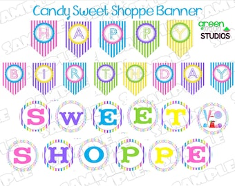 Candy Sweet Shoppe Banner Happy Birthday INSTANT DOWNLOAD UPrint  by greenmelonstudios