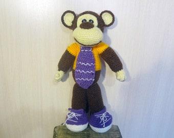 Hand Knit Toy - Soft Plush  monkey