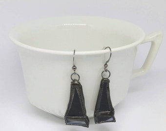 Black stained glass earrings