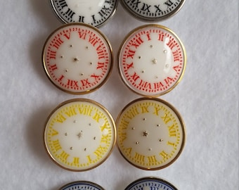 Vintage Glass Watch Face Buttons, Set of Eight