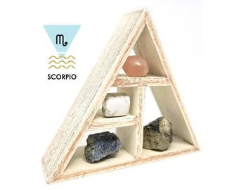 SCORPIO Zodiac Crystal Set  / Astrology Stones and Wooden Geometric triangle shelf in Gift Box / Scorpio Gifts for Her ~ 14