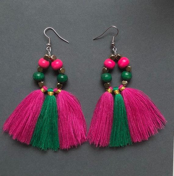 Pink and Green Wood Bead Tassel Earrings