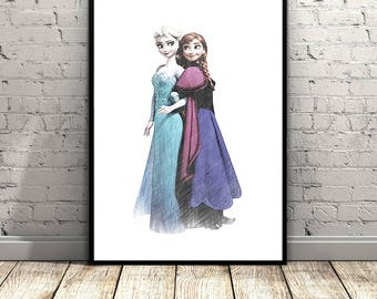 Elsa and Anna, Frozen Elsa Print, Frozen Wall Art, Disney Frozen Print, Elsa Anna Print, Frozen Disney Printable, Anna Print, Disney Print