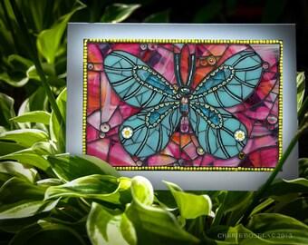 Blank Greeting Card - Moana Butterfly mosaic