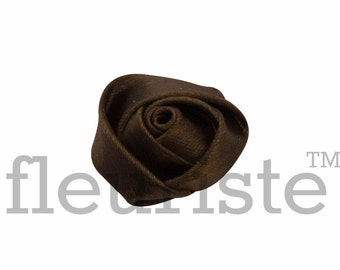 BROWN Rosette, Satin Rolled Rosette, Fabric rose, Rolled Rosette, Wholesale Flower, Fabric Flower, Wedding Flower, Flower Embellishment