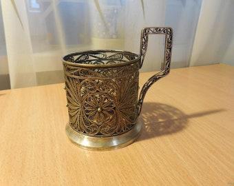 Filigree glass holder  Tea cup holder Soviet podstakannik Russian podstakannik Soviet glass holder USSR podstakanik Vintage glass holders