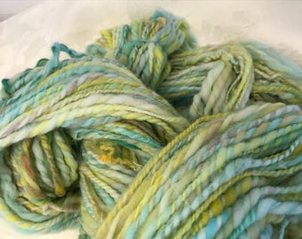 Sea Snail, handspun rambouillet, teeswater and bfl locks, 2 ply, 196 yds