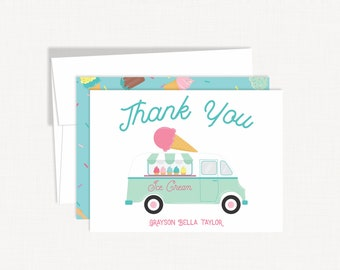 Ice Cream Truck Thank You Cards | Personalized Stationery | Ice Cream Thank You Cards | Ice Cream Thank Note | Kids Stationery | Thank You