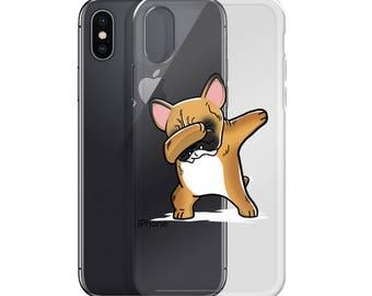 Funny Dabbing Fawn French Bulldog iPhone Case, Cute French Bulldog Gift, Frenchie Dog Dab Dance Phone Case