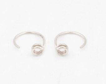 Silver Hugging hoops- Tiny Hugging Hoops- Open Hoops- Dot Hoops-Hugging hoop earrings Gold or Silver-Hug Earrings-Simple Hug Earrings